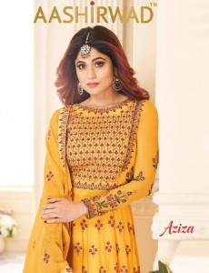 AASHIRWAD  CREATION  AZIZA SALWAR SUITS WHOLESALE CATALOGUE
