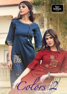 FOUR BUTTONS COLORS VOL 2 KURTIS SUPPLIER IN INDIA