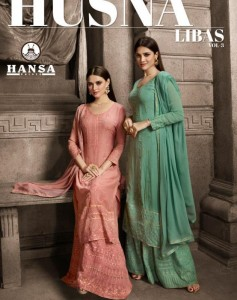 HANSA PRINTS HUSNA LIBAS VOL 3  GEORGETTE SALWAR SUITS DRESS MATERIAL