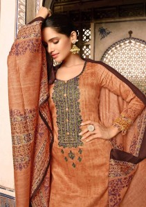 MUMTAZ ARTS CASHMERE IN JAM SATIN FABRIC