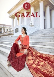 RSF GAZAL SATIN GEORGETTE SARARA SALWAR SUITS AT WHOLESALE