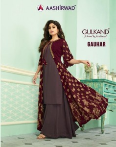 AASHIRWAD GAUHAR PARTY WEAR GEORGETTE SUITS AT WHOLESALE