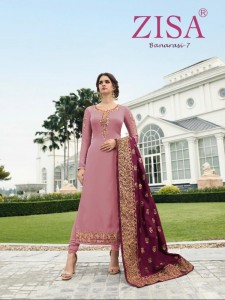 ZISA BANARASI VOL 7 EMBROIDERED SUITS WITH BANARASI DUPATTA