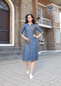 SERIEMA KUMB SLEECKER DENIM KURTIS WHOLESALER