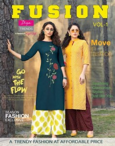 DIYA TRENDS FUSION VOL 1 KURTI WITH PALAZZO BEST PRICE