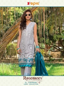 FEPIC ROSEMEEN ZC CHIKANKARI PURE COTTON PAKISTANI SUITS BEST RATE