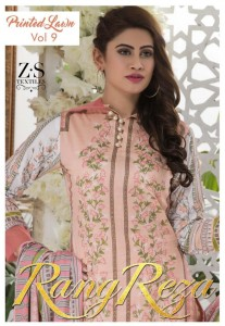 ZS TEXTILE RANGREZA VOL 9 LAWN COTTON DRESS MATERIAL AT BEST PRICE