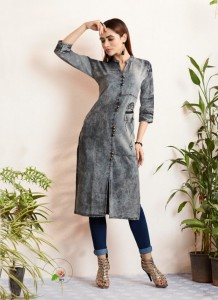 KAJREE FASHION SHEHZADI VOL 3 DENIM WITH EMBROIDERY WORK KURTIS