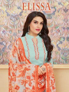 MOOF  FASHION ELISSA VOL 4 SILK COTTON FABRICS SUITS AT WHOLERSALE RATE