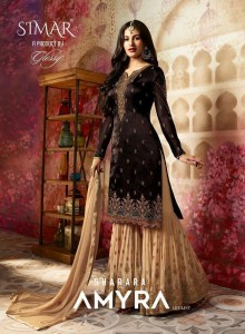 GLOSSY SIMAR SHARARA AMYRA HITLIST PAKISTANI SUITS MANUFACTURER IN INDIA