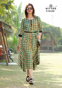 MITTOO BELT RAYON KURTIS AT BEST PRICE