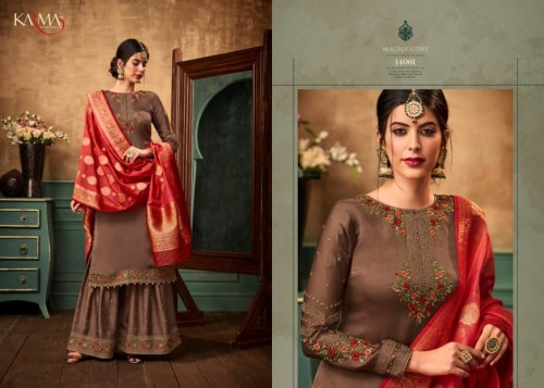KARMA 14058-14063 SERIES HEAVY GEORGETTE SHARARA SUITS CATALOGUE WHOLESALE (11).jpg