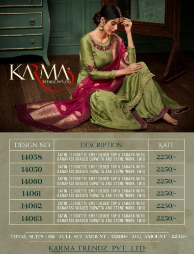 Z KARMA 14058-14063 SERIES HEAVY GEORGETTE SHARARA SUITS CATALOGUE WHOLESALE (15).jpg