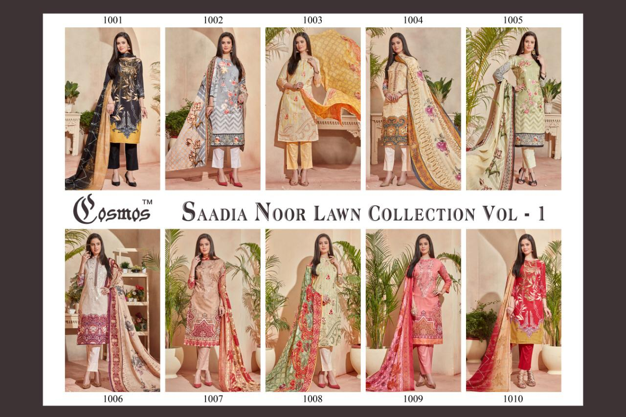 f5a0aafcb2 COSMOS FASHION SAADIA NOOR LAWN VOL 1 PAKISTANI SUITS WHOLESALE IN SURAT  (28).